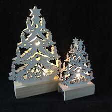 Wooden LED Light Up Nativity Christmas Tree Standing Decoration Mantel Vintage