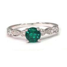 Treated Emerald Engagement Ring 14K White Gold Art Deco Diamonds Wedding Band
