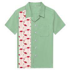 Mens Hawaiian Shirts Flamingo Print Aloha Casual Shirts Plus Size Clothing
