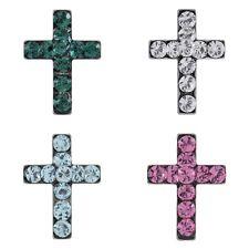 Studex Sensitive 8mm Crystal Cross Silver Coloured Stainless Steel Stud Earrings
