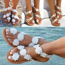 Women White boho Flower Sandals Flat Beach Slippers  Flops Shoes F/1