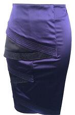 New Womens KAREN MILLEN Fitted Pencil Skirt UK Size 8 36 SILK Purple Black Party