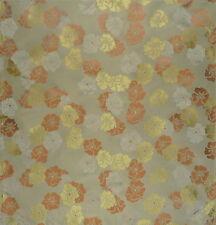 VEREL DE BELVAL Pensee Lampas Floral Orange Gold Silk Viscose Remnant New