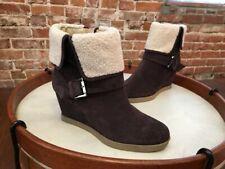 Isaac Mizrahi Kelly Dark Brown Suede & Faux Sherpa Wedge Ankle Boot NEW