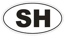 SH Saint Helena Oval Bumper Sticker or Helmet Sticker D2028 Country Code