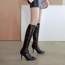 stylish Womens High Heel Point Toe Side Zip nightclub Pole dance Knee High Boots