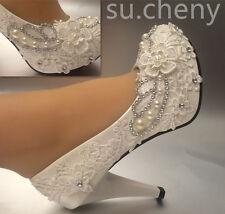 "Su.cheny 3 "" 4 "" Talon Blanc Dentelle Ivoire Perles Chaussures Mariage de Taille"
