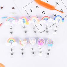 1Pc Lollipop Rainbow Retractable Reel Badge Key Tag Clip ID Card Tags Belt XJ