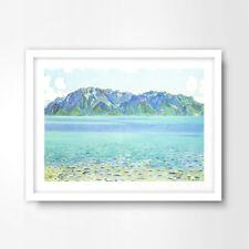 AQUA BLUE GREEN SEA OCEAN PAINTING SEASIDE NAUTICAL ART PRINT Decor Wall Picture