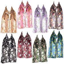 Womens Chiffon Satin Flower Design Scarf Shawl