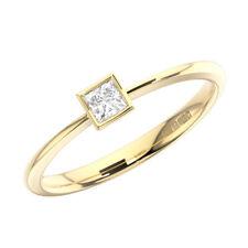 4mm Bezel Set Princess Cut Diamonds Engagement Ring in 9K Yellow Gold