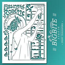 Art Noveau STENCIL: Absinthe Robette Advert (Furniture Print Transfer) #076