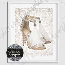 Fashion Art Feathther designer Shoes beautiful damask beauty room print