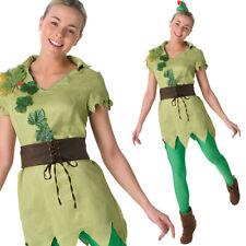 Ladies Peter Pan Costume Disney Fancy Dress Green Neverland Womens Rubies 880999