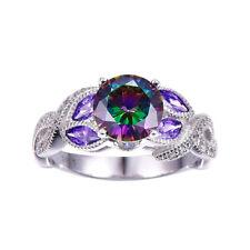 Gorgeous Women 925 Silver Wedding Engagement Ring Mystic Topaz Size 6-10