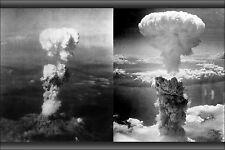Poster, Many Sizes; Nuclear Atom Bomb Attacks Hiroshima On Left, Nagasaki On Rig