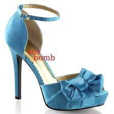 SEXY scarpe decolte AZZURRE tacco 12 da 35 a 41 PLATEAU spuntate fashion GLAMOUR
