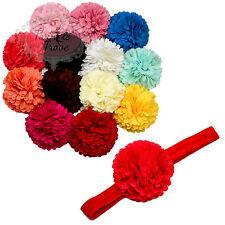 Baby Toddler Pompom Flower Hairbands. Kids Girls Hair Band Elastic Headband.