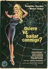 BRIGITTE BARDOT VOULEZ-VOUS DANSER AVEC MOI? 1959 AFFICHETTE ESPAGNOLE VINTAGE