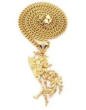Gold Crystal Saint Michael Arch Angel Devil Wings Sword Pendant Chain Jewelry