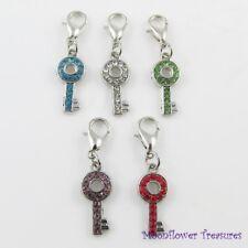 Rhinestone Key Charm fit Clip on Charm Bracelet Select Colour