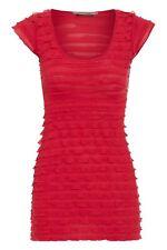 Clockhouse Women's Casual Red Ruffle Sleeveless Top