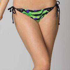 Fox Racing Femme Maillots de bain crawl côté cravate bas noir bikini maillot de bain vert