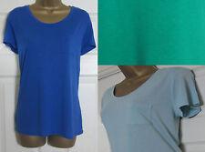 NEW M&S Ladies Casual T-Shirt Top Pocket Short Sleeve Blue Green Sz 8-24