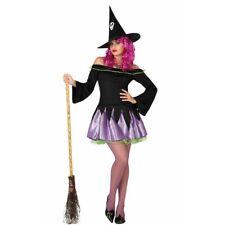 Disfraz Halloween Carnaval Mujer bruja pareja Violeta con sombrero de copa punta