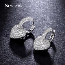 Newbark Classic Heart Earrings Silver Color Hoop Earring Paved Cubic Zirconia Je