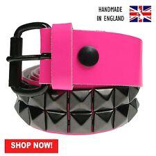 38mm F.Rose Noir Pyramide 100% V_ritable Cuir Fabriqu_e En Angleterre