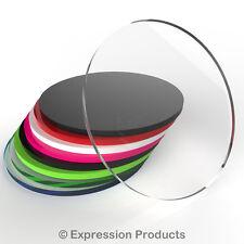 DISCHI Acrilico Perspex Taglio Laser CERCHI rotonda 20mm - 75mm - 3mm spessore disco