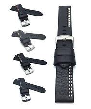 Racer Leather Watch Strap 22mm, Black w/ White, Red, Yellow, Orange, Blue Stitch