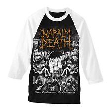 """Napalm Death """"de l'asservissement à oblitération Baseball T Shirt-Nouveau Officiel"""