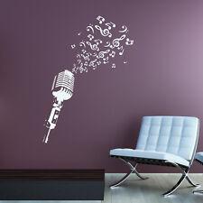 Wandtattoo Mikrofon DJ Disco Lounge Musik Noten Aufkleber Wall Wand Tattoo #2126