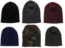 Acrylic Deluxe Skull Cap Winter Ski Hat - OD, Black, Maroon, Navy, Grey, Camo