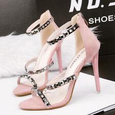 Sandali eleganti tacco stiletto 11 cm rosa simil pelle eleganti 9837