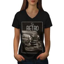 Retro EE. UU. coche Vintage para Mujeres Cuello en V wellcoda Camiseta Nuevo |