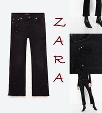 ZARA Black Embroidered Mid-Rise Flared Hem New (R$75) Jeans US Sizes: 2;4;6;8;10