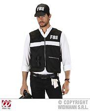 2 pc FBI Vest + Cap Costume, Agent black mens m/L & XL, 758