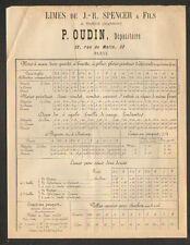 """PARIS (XI°) Dépositaire LIMES de J.-R. SPENCER de SHEFFIELD """"P. OUDIN"""" vers 1880"""