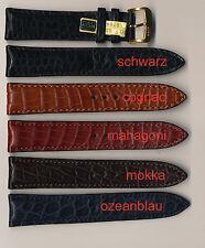 ECHTES ALLIGATOR-LEDER-UHRENBAND, 18+19+20+22 mm, Flank, matt, gepolstert