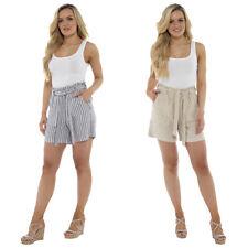 Ladies Linen Paperbag Waist Shorts Grey & Stone Stripe Summer 10 12 14 16 18 20