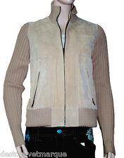 Gilet cardigan lainage et peau OAKWOOD femme beige
