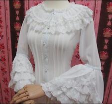Women Cute Princess Girls Shirt Sweet Gothic Ruffles Lolita Lace Cosplay Blouses