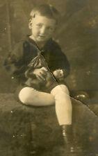 ANTIQUE VINTAGE BOY CHILD ANGEL CHIMP MONKEY TOY DOLL ARTISTIC STUDIO FINE PHOTO