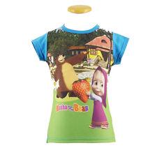Maglietta T-shirt MASHA E ORSO in cotone azzurro stampato varie taglie da bambin
