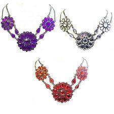 Red Purple Clear Crystal Diamante Flower Necklace Pendant Women Party Dress UK
