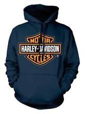 Harley-Davidson Men's Orange Bar & Shield Navy Pullover Sweatshirt 30291742