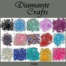 3mm Diamante Loose Flat Back Rhinestone Body Gems - Choose from 18 Colours